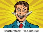 the false smile face with... | Shutterstock .eps vector #465505850