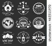 wine monochrome emblems with... | Shutterstock .eps vector #465511970