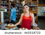 portrait of woman standing near ... | Shutterstock . vector #465518723