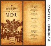 restaurant menu design. vector... | Shutterstock .eps vector #465519620