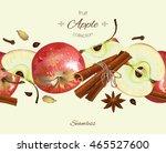 vector apple and cinnamon... | Shutterstock .eps vector #465527600