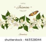 vector jasmine seamless... | Shutterstock .eps vector #465528044