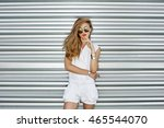 outdoor fashion portrait of... | Shutterstock . vector #465544070
