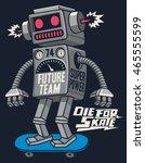 vector retro robot on... | Shutterstock .eps vector #465555599