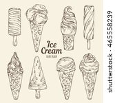 collection of ice cream . hand... | Shutterstock .eps vector #465558239