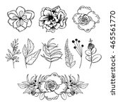 set of hand drawn flowers and... | Shutterstock .eps vector #465561770