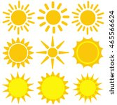 set of yellow sun icons. vector ... | Shutterstock .eps vector #465566624