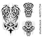 maori tribal tattoo set | Shutterstock .eps vector #465571754