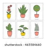 indoor plants. vector icons. | Shutterstock .eps vector #465584660