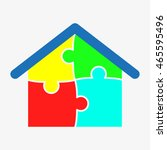 house puzzle  vector icon  eps10 | Shutterstock .eps vector #465595496