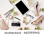 female workspace with tablet ... | Shutterstock . vector #465595943