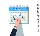 business man hand sticking push ... | Shutterstock .eps vector #465599390