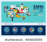 one page web banner flat line... | Shutterstock .eps vector #465603050