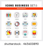 flat line icons set with flat... | Shutterstock .eps vector #465603890