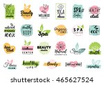 Vector health and beauty care logos or labels. Spa, yoga centers badges. Wellness signs. Hand drawn tags and elements set for organic cosmetics, natural products. | Shutterstock vector #465627524