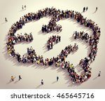 large and diverse group of... | Shutterstock . vector #465645716