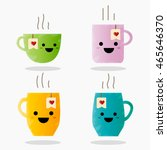 cup emoji set with cheeks and... | Shutterstock .eps vector #465646370
