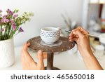 pottery. painting pottery. the...   Shutterstock . vector #465650018