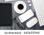 blank white mobile phone ... | Shutterstock . vector #465655544