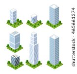 3d isometric city icons with... | Shutterstock .eps vector #465661274