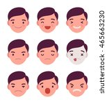 set of 9 different emotions.... | Shutterstock .eps vector #465663230