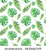 tropical leaves watercolor... | Shutterstock . vector #465666149