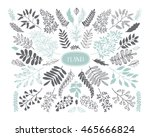collection of hand drawn leaves ... | Shutterstock .eps vector #465666824
