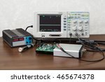 Small photo of The oscilloscope for the measurement and control electronic signals to the engineer workplace