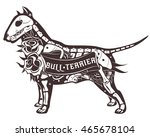 stylized skeleton bull terrier. ... | Shutterstock . vector #465678104