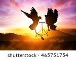 silhouette of pigeon dove... | Shutterstock . vector #465751754