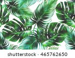tropical palm leaves  jungle... | Shutterstock . vector #465762650
