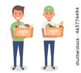 volunteers with donation boxes... | Shutterstock .eps vector #465774494