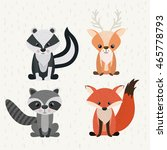 set animals woodland wildlife... | Shutterstock .eps vector #465778793