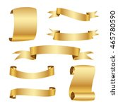 golden ribbon set | Shutterstock .eps vector #465780590