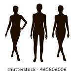 three people silhouette pose set | Shutterstock .eps vector #465806006
