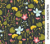 seamless pattern with floral... | Shutterstock .eps vector #465809786