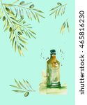 design set with olive branches... | Shutterstock . vector #465816230
