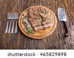 Medium Rare Grilled Beef Steak...