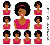 sexy african woman with nine... | Shutterstock .eps vector #465836318