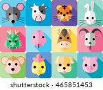 chinese zodiac animal signs   Shutterstock .eps vector #465851453