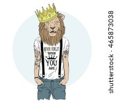 lion king hipster with tattoo... | Shutterstock .eps vector #465873038