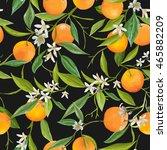 seamless floral pattern. orange ... | Shutterstock .eps vector #465882209