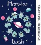 monster party card design....   Shutterstock .eps vector #465888458