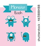 monster party card design.... | Shutterstock .eps vector #465888488