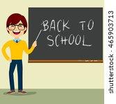 happy teacher character...   Shutterstock .eps vector #465903713