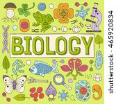 biology hand drawn colorful... | Shutterstock .eps vector #465920834