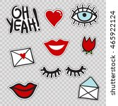 set of cute patches elements ... | Shutterstock .eps vector #465922124