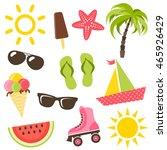 set of summer icons | Shutterstock .eps vector #465926429