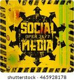 retro social media sign vector... | Shutterstock .eps vector #465928178