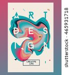 cyan abstract poster. liquid... | Shutterstock .eps vector #465931718
